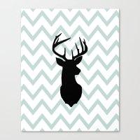 Chevron Deer Silhouette Canvas Print