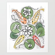 Art Print featuring Koi Reunion - Zentangle … by Vermont Greetings