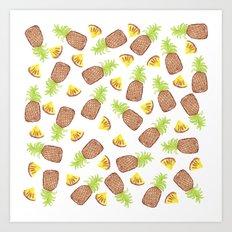 Hand Painted Watercolor Tropical Pineapples Art Print