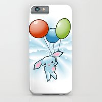 iPhone & iPod Case featuring Cute Little Blue Bunny Flying With Balloons by Ruxique
