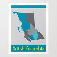 British Columbia Map Print Art Print