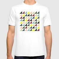 Mid-century triangles Mens Fitted Tee White SMALL