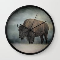 Stormy Day - Buffalo - Wildlife Wall Clock