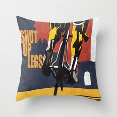 Retro Tour de France Cycling Illustration Poster: Shut Up Legs Throw Pillow
