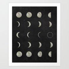 Moon Phases, Black White Decor, Bohemian, Magic, Lunar Cycle Art Print