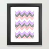 purple & coral chevron Framed Art Print