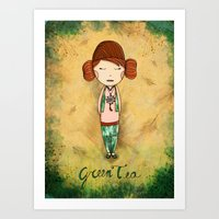 Green Tea Girl Art Print