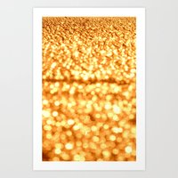 glitter Art Prints featuring Gold Glitter Sparkles by WhimsyRomance&Fun