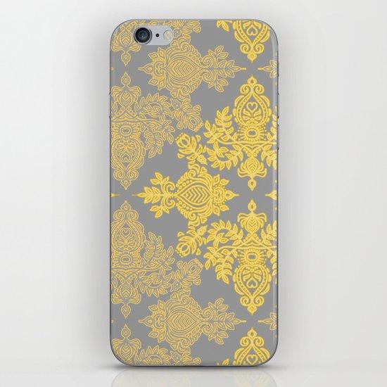 Golden Folk - doodle pattern in yellow & grey iPhone & iPod Skin