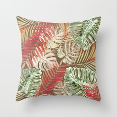 Jungle Tangle Red On Brown Throw Pillow