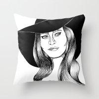 belle fille d'or Throw Pillow