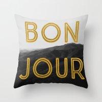Bonjour (Mountains) Throw Pillow