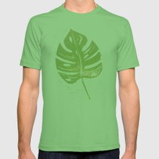 Linocut Leaf Mens Fitted Tee Grass SMALL