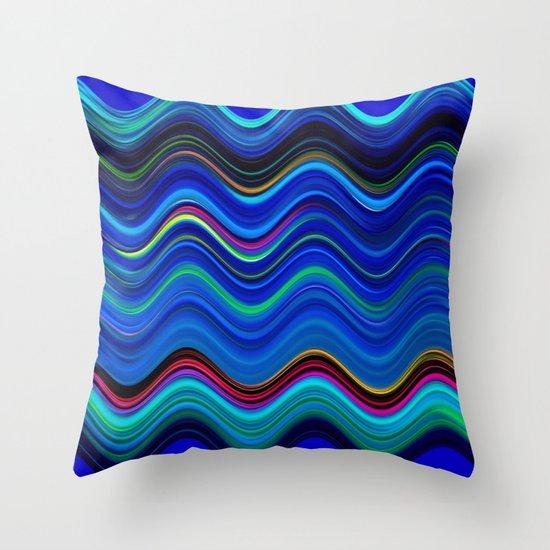Blue Wavy Stripes Throw Pillow