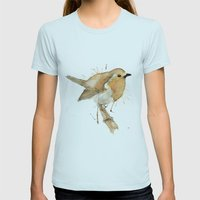 Ready Robin Womens Fitted Tee Light Blue SMALL