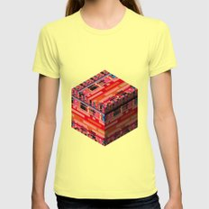 3D Pixel City Womens Fitted Tee Lemon SMALL