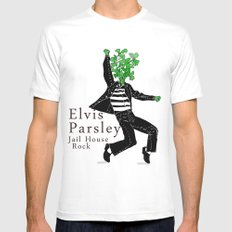 Elvis Parsley White Mens Fitted Tee SMALL