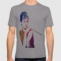 Audrey Hepburn Breakfast at Tiffany's Mens Fitted Tee Athletic Grey SMALL