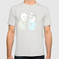 News Reporters Staring Contest Mens Fitted Tee Silver SMALL