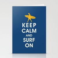 Keep Calm and Surf On (Surfer Boy) Stationery Cards