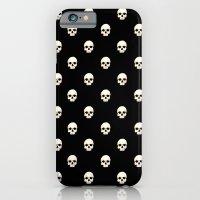 White Skulls On Black iPhone 6 Slim Case
