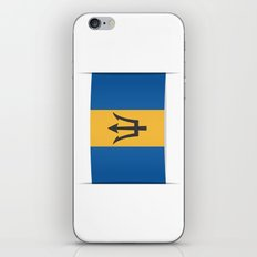Flag of Barbados. The slit in the paper with shadows. iPhone & iPod Skin