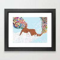 Fro Girl on Clouds Framed Art Print