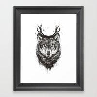 Deer wolf (b&w) Framed Art Print