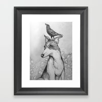 Dog And Crow Framed Art Print