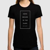 Hope Begins in The Dark - Anne Lamott Womens Fitted Tee Black SMALL