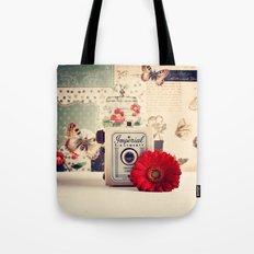 Retro Camera And Red Flo… Tote Bag