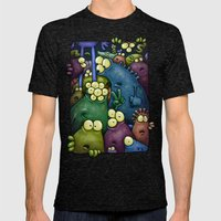 Crowded Aliens Mens Fitted Tee Tri-Black SMALL