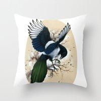 Resplendent Magpie Throw Pillow