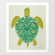 Art Print featuring Green Sea Turtle by Cat Coquillette
