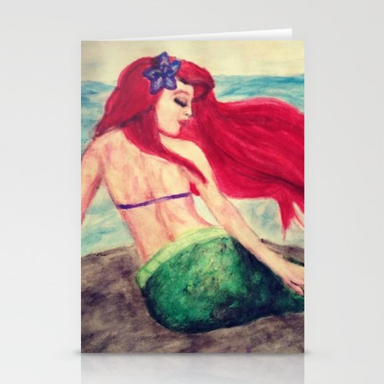 "Ariel ""On the Rocks"" Stationery Card"