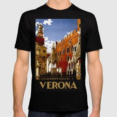 Vintage Verona Italy Travel Mens Fitted Tee Black SMALL