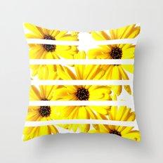 Yellow Mellow Daisies with White Stripes Throw Pillow