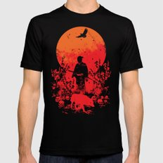 red sun MEDIUM Mens Fitted Tee Black
