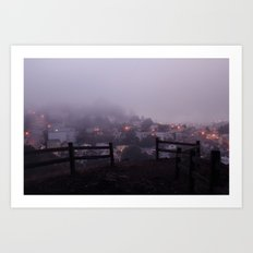 Foggy fences. Art Print
