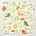 Cute birds and leaves pattern Canvas Print