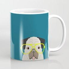 Emerson - Pug with neon Hipster Glasses, Cute Retro Dog, Dog, Husky with Glasses, Funny Dog Mug
