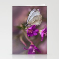 White butterfly on pink flowers Stationery Cards