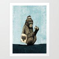 Music Gorilla Art Print