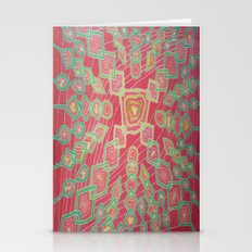 Green Chain On Red Stationery Cards