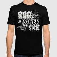 Rad to the Power of Sick - White Print Mens Fitted Tee Black SMALL