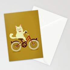 White cat on a bicycle Stationery Cards