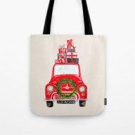 Red Christmas Car  Tote Bag