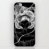 Black And White Headphon… iPhone & iPod Skin