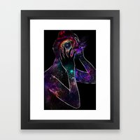 Girl with the Universe inside of her. Framed Art Print