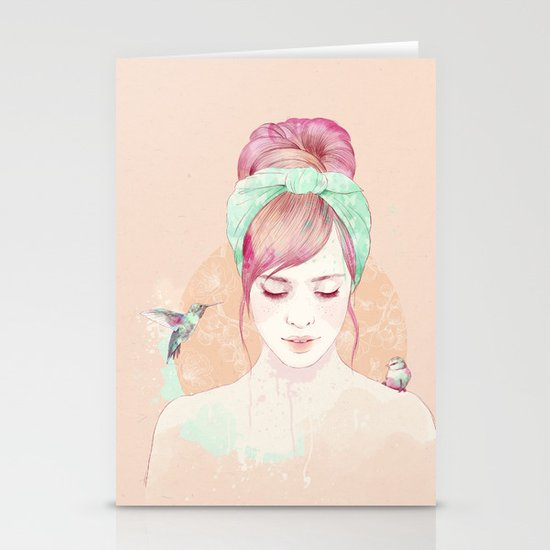 Pink hair lady Stationery Card